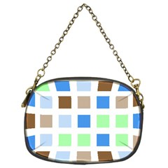 Colorful Green Background Tile Pattern Chain Purses (two Sides)