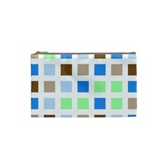 Colorful Green Background Tile Pattern Cosmetic Bag (small)