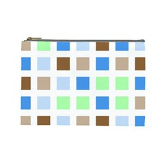 Colorful Green Background Tile Pattern Cosmetic Bag (large)