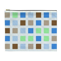 Colorful Green Background Tile Pattern Cosmetic Bag (XL)
