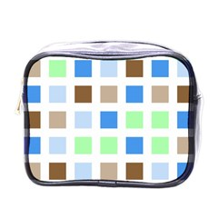 Colorful Green Background Tile Pattern Mini Toiletries Bags