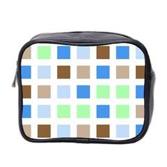 Colorful Green Background Tile Pattern Mini Toiletries Bag 2-Side
