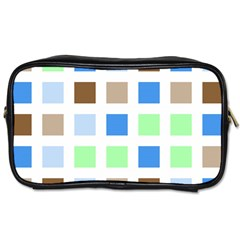 Colorful Green Background Tile Pattern Toiletries Bags