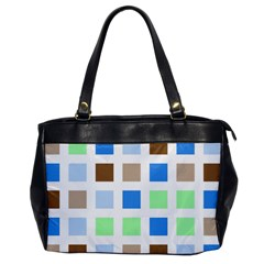 Colorful Green Background Tile Pattern Office Handbags