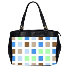 Colorful Green Background Tile Pattern Office Handbags (2 Sides)