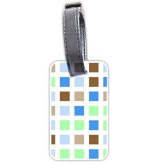 Colorful Green Background Tile Pattern Luggage Tags (two Sides)