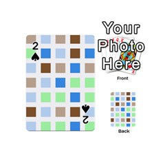 Colorful Green Background Tile Pattern Playing Cards 54 (mini)