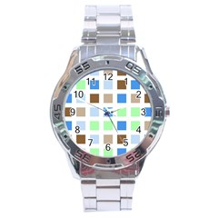 Colorful Green Background Tile Pattern Stainless Steel Analogue Watch