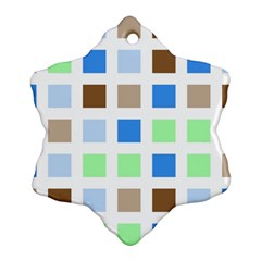 Colorful Green Background Tile Pattern Ornament (snowflake)