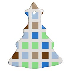 Colorful Green Background Tile Pattern Christmas Tree Ornament (two Sides)