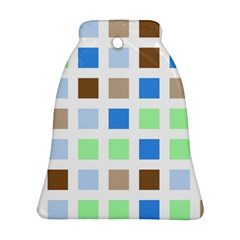 Colorful Green Background Tile Pattern Bell Ornament (two Sides)