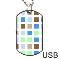 Colorful Green Background Tile Pattern Dog Tag Usb Flash (two Sides)