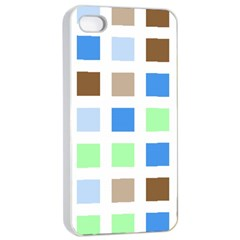 Colorful Green Background Tile Pattern Apple Iphone 4/4s Seamless Case (white)