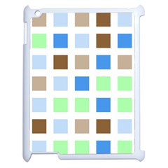 Colorful Green Background Tile Pattern Apple Ipad 2 Case (white)
