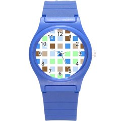 Colorful Green Background Tile Pattern Round Plastic Sport Watch (s)