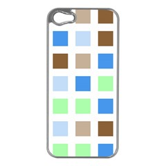 Colorful Green Background Tile Pattern Apple Iphone 5 Case (silver)