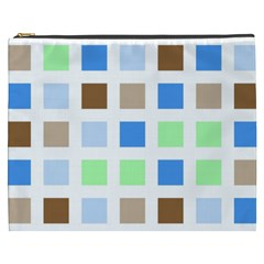 Colorful Green Background Tile Pattern Cosmetic Bag (xxxl)