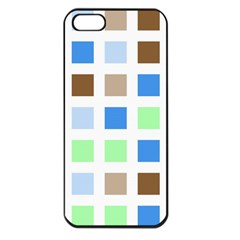 Colorful Green Background Tile Pattern Apple Iphone 5 Seamless Case (black)