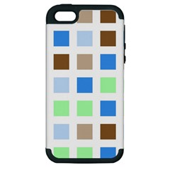 Colorful Green Background Tile Pattern Apple Iphone 5 Hardshell Case (pc+silicone)