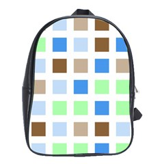 Colorful Green Background Tile Pattern School Bags (xl)