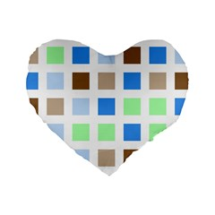 Colorful Green Background Tile Pattern Standard 16  Premium Heart Shape Cushions