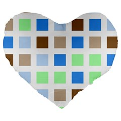 Colorful Green Background Tile Pattern Large 19  Premium Heart Shape Cushions