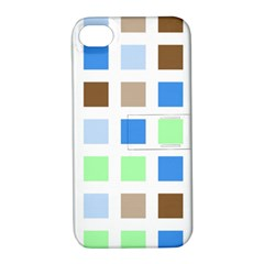 Colorful Green Background Tile Pattern Apple Iphone 4/4s Hardshell Case With Stand