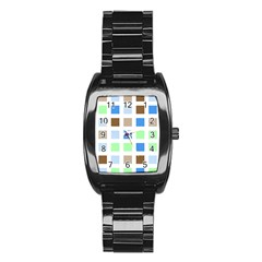 Colorful Green Background Tile Pattern Stainless Steel Barrel Watch