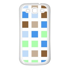 Colorful Green Background Tile Pattern Samsung Galaxy S3 Back Case (white)
