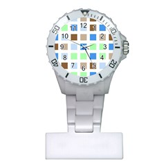 Colorful Green Background Tile Pattern Plastic Nurses Watch
