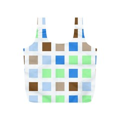 Colorful Green Background Tile Pattern Full Print Recycle Bags (s)