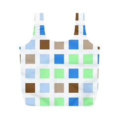 Colorful Green Background Tile Pattern Full Print Recycle Bags (m)