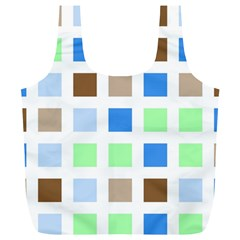 Colorful Green Background Tile Pattern Full Print Recycle Bags (l)