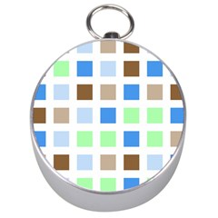 Colorful Green Background Tile Pattern Silver Compasses