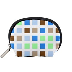 Colorful Green Background Tile Pattern Accessory Pouches (small)