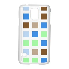 Colorful Green Background Tile Pattern Samsung Galaxy S5 Case (white)