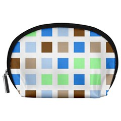 Colorful Green Background Tile Pattern Accessory Pouches (large)
