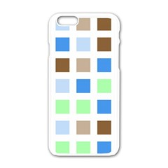 Colorful Green Background Tile Pattern Apple Iphone 6/6s White Enamel Case