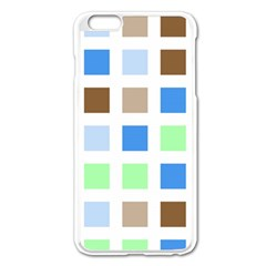 Colorful Green Background Tile Pattern Apple Iphone 6 Plus/6s Plus Enamel White Case