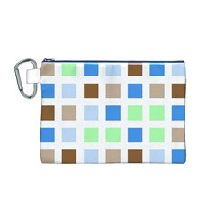 Colorful Green Background Tile Pattern Canvas Cosmetic Bag (m)