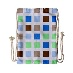 Colorful Green Background Tile Pattern Drawstring Bag (small)
