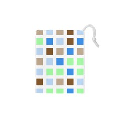 Colorful Green Background Tile Pattern Drawstring Pouches (xs)