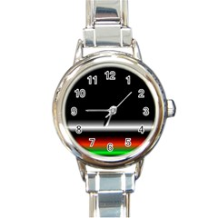 Colorful Neon Background Images Round Italian Charm Watch