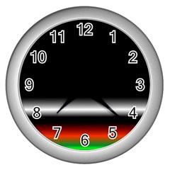 Colorful Neon Background Images Wall Clocks (silver)