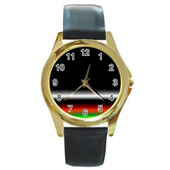 Colorful Neon Background Images Round Gold Metal Watch