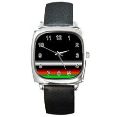 Colorful Neon Background Images Square Metal Watch