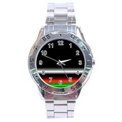 Colorful Neon Background Images Stainless Steel Analogue Watch