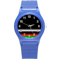 Colorful Neon Background Images Round Plastic Sport Watch (s)