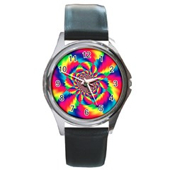 Colorful Psychedelic Art Background Round Metal Watch