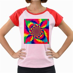 Colorful Psychedelic Art Background Women s Cap Sleeve T Shirt